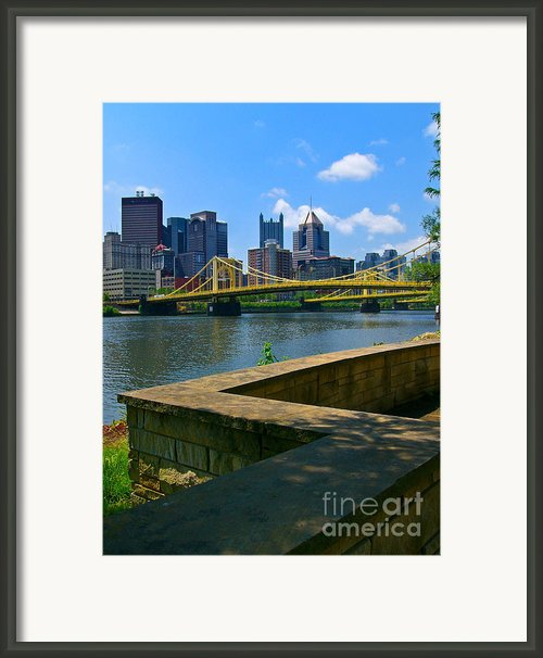 Pittsburgh Pennsylvania Skyline And Bridges As Seen From The North Shore Framed Print By Amy Cicconi