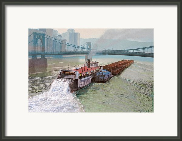 Pittsburgh River Boat-1948 Framed Print By Paul Krapf
