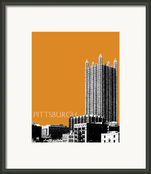 Pittsburgh Skyline Ppg Building - Dark Orange Framed Print By Db Artist