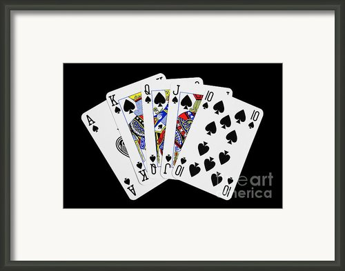 Playing Cards Royal Flush On Black Background Framed Print By Natalie Kinnear