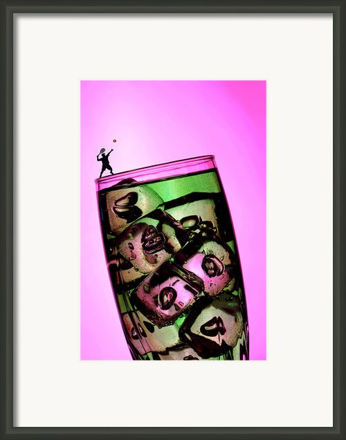 Playing Tennis On A Cup Of Lemonade Little People On Food Framed Print By Paul Ge