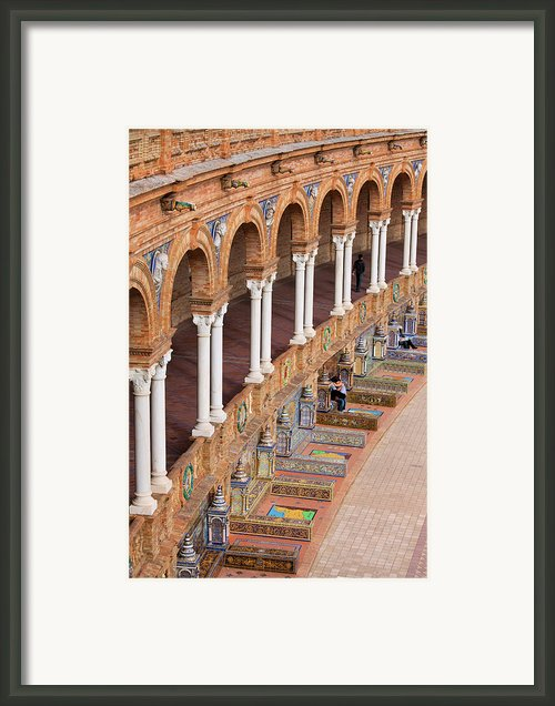 Plaza De Espana Colonnade In Seville Framed Print By Artur Bogacki
