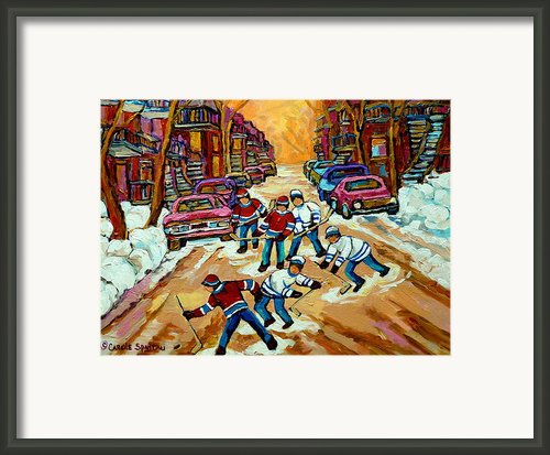Pointe St.charles Hockey Game Winter Street Scenes Paintings Framed Print By Carole Spandau