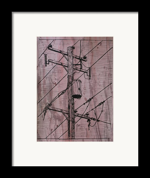 Pole With Transformer Framed Print By William Cauthern
