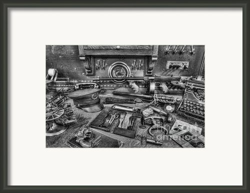 Police - Behind The Front Desk Black And White Framed Print By Lee Dos Santos