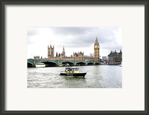 Police Boat On The River Thames Outside Parliment Framed Print By Fizzy Image