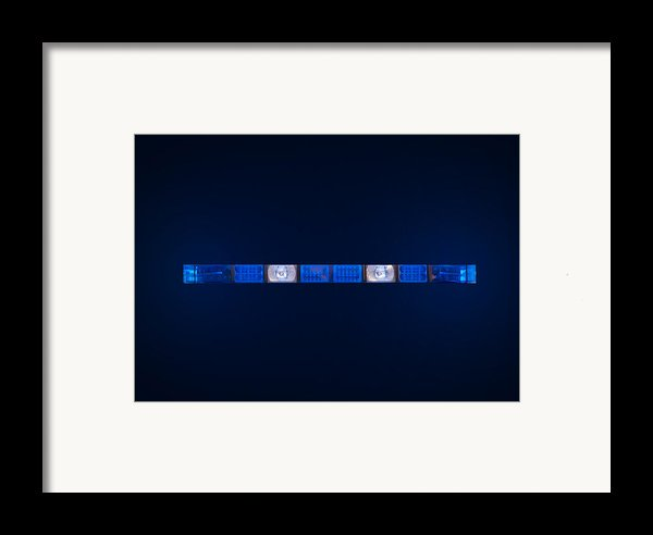 Police Emergency Lights With Blue Surrounding Light Framed Print By Fizzy Image