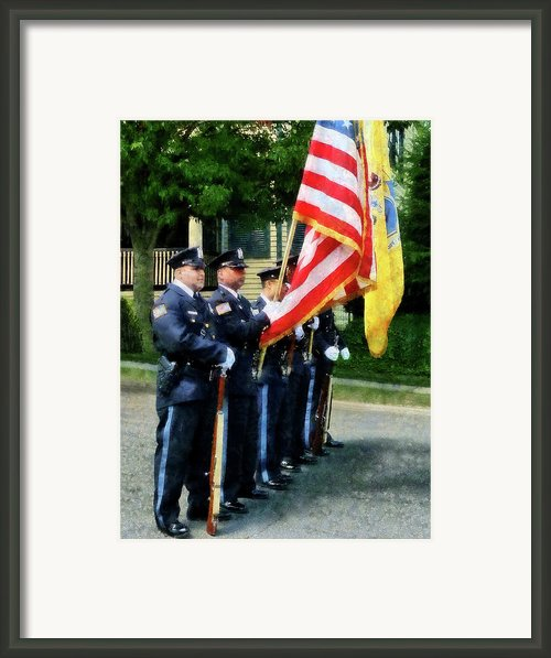 Policeman - Police Color Guard Framed Print By Susan Savad
