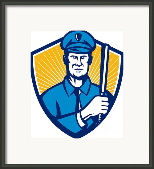 Policeman Police Officer Baton Shield Retro Framed Print By Aloysius Patrimonio