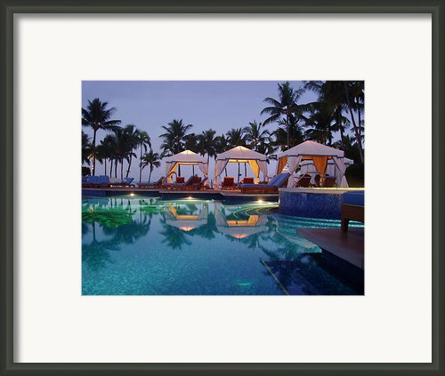 Poolside At Dawn Framed Print By Ellen Henneke