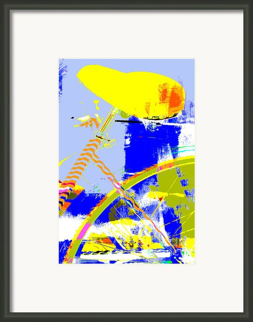 Pop Art Bicycle In Blue And Yellow Framed Print By Anahi Decanio