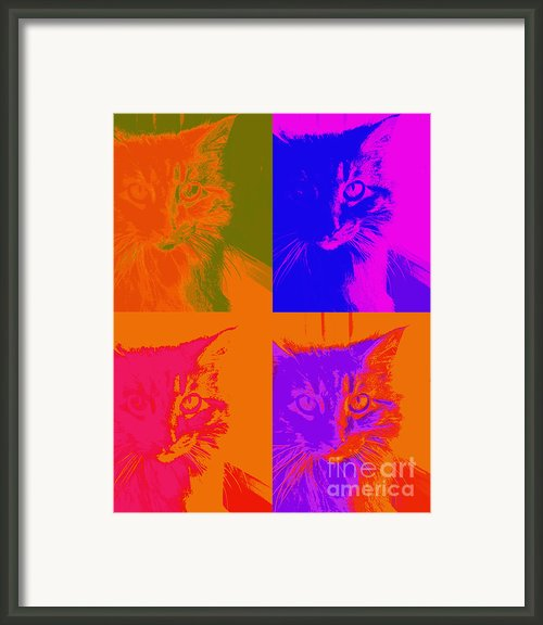 Pop Art Cat  Framed Print By Ann Powell