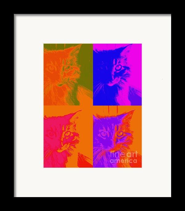 Pop Art Cat  Framed Print By Ann Powell