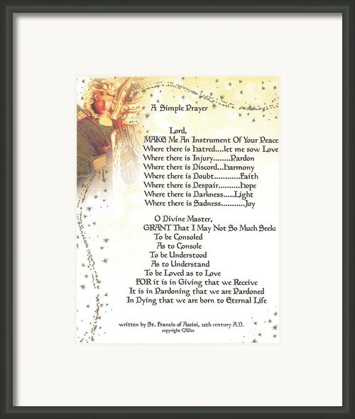 Pope Francis St. Francis Simple Prayer Angel Of Peace       Framed Print By Claudette Armstrong