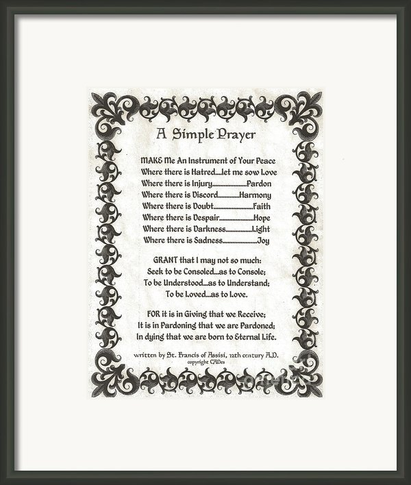 Pope Francis St. Francis Simple Prayer Fleury Of Faith Framed Print By Claudette Armstrong