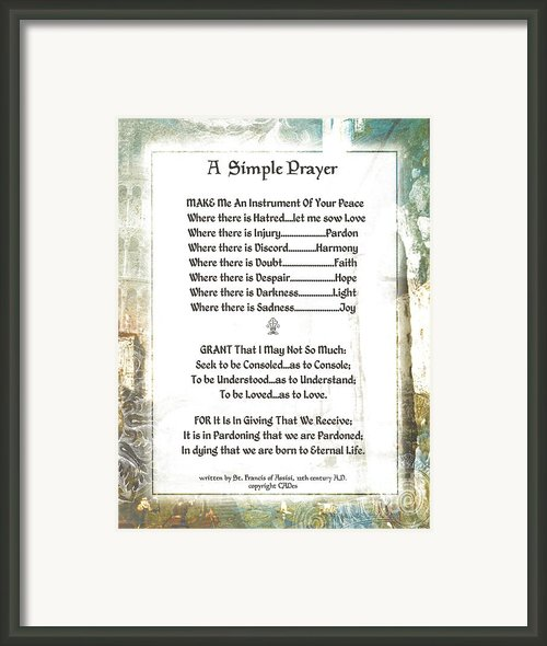 Pope Francis St. Francis Simple Prayer For Peace Framed Print By Claudette Armstrong