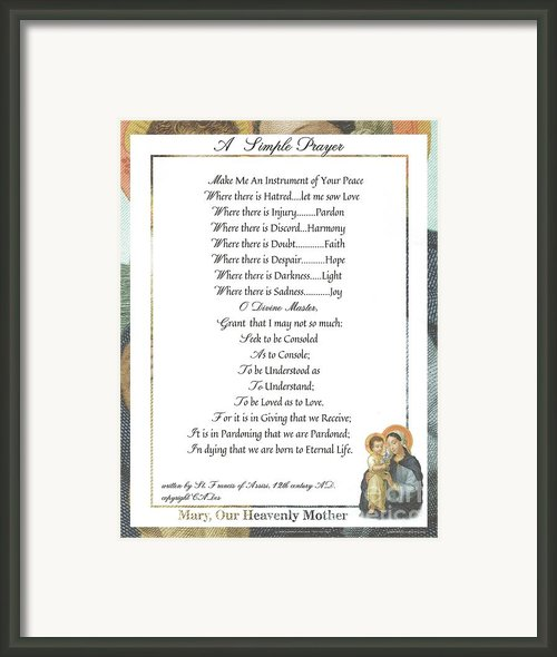 Pope Francis St. Francis Simple Prayer Mary Framed Print By Claudette Armstrong