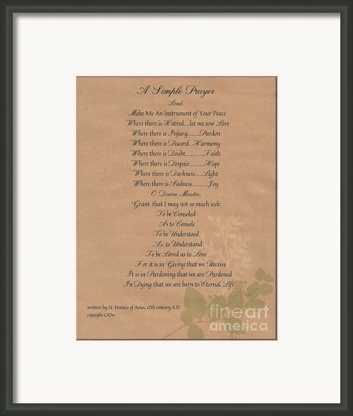 Pope Francis St. Francis Simple Prayer Organic Peace Leaves Framed Print By Claudette Armstrong