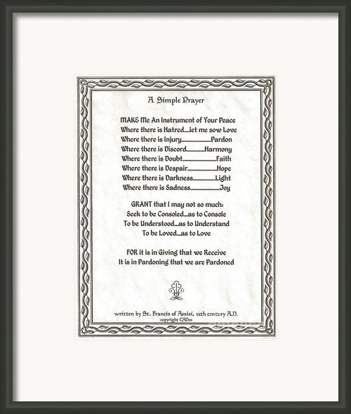 Pope Francis St. Francis Simple Prayer Parched Leaf Framed Print By Claudette Armstrong