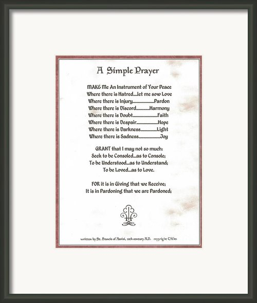 Pope Francis St. Francis Simple Prayer Sicily Framed Print By Claudette Armstrong