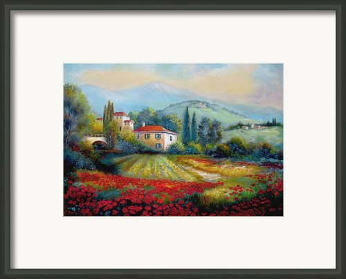Poppy Fields Of Italy Framed Print By Gina Femrite