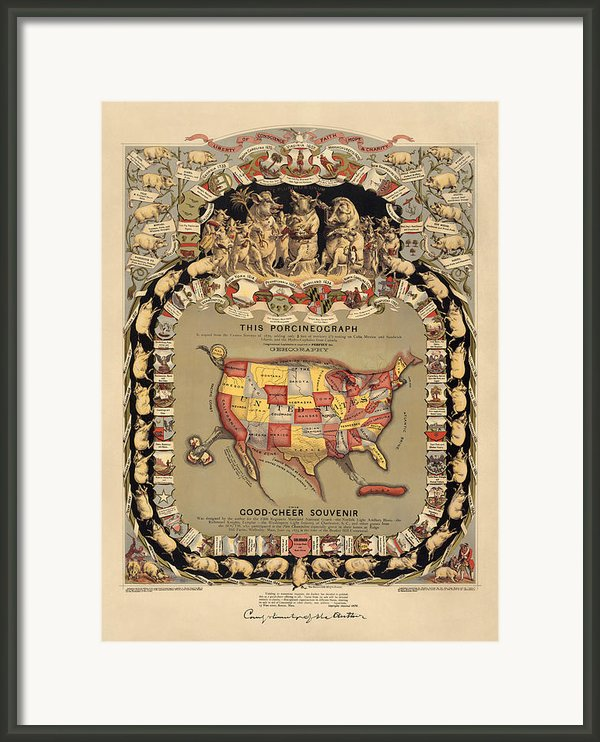 Pork Map Of The United States From 1876 Framed Print By Blue Monocle