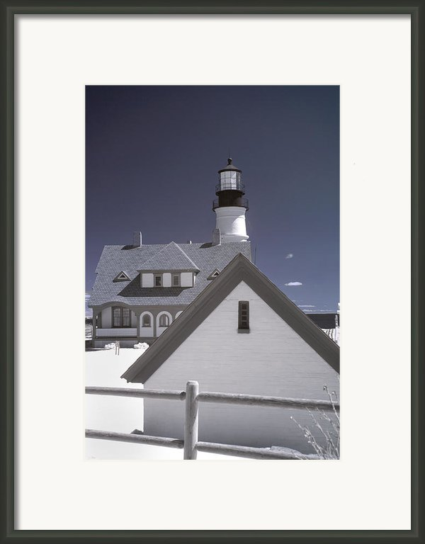 Portland Head Light In Ir Framed Print By Joann Vitali