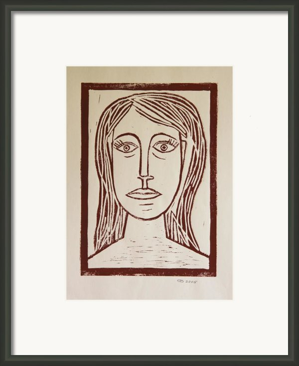 Portrait A La Picasso - Block Print Framed Print By Christiane Schulze Art And Photography