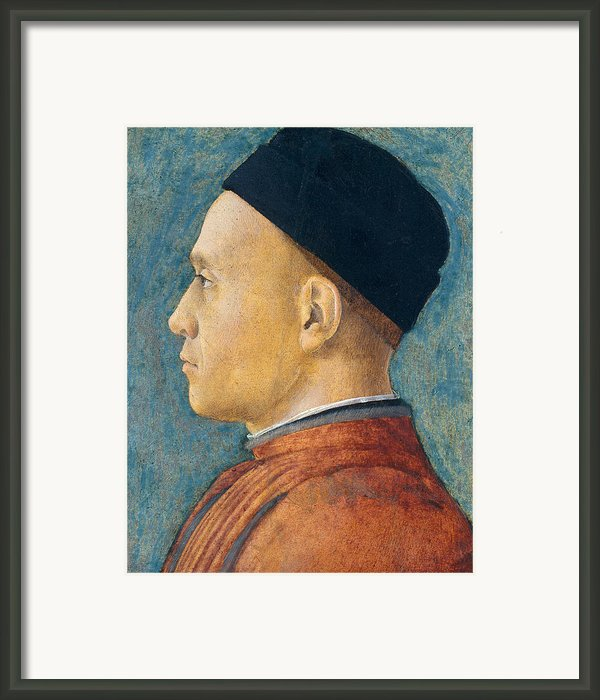 Portrait Of A Man Framed Print By Andrea Mantegna