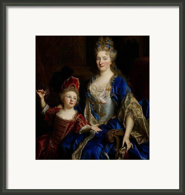 Portrait Of Catherine Coustard Framed Print By Nicolas De Largilliere