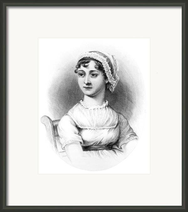 Portrait Of Jane Austen Framed Print By English School