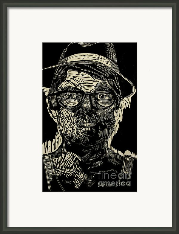 Portrait Of The Artist In A Fedora Final Stage Framed Print By Charlie Spear