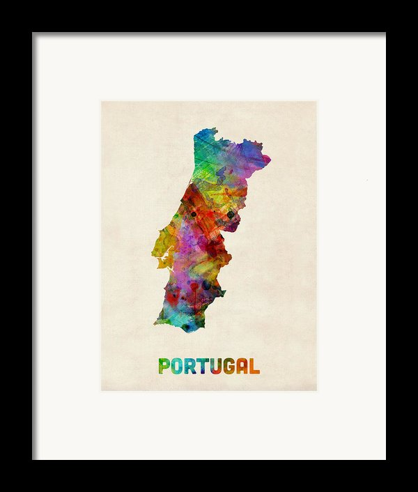Portugal Watercolor Map Framed Print By Michael Tompsett