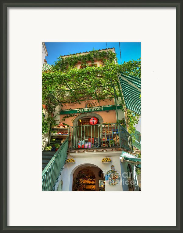 Positano Deli Framed Print By Bob And Nancy Kendrick