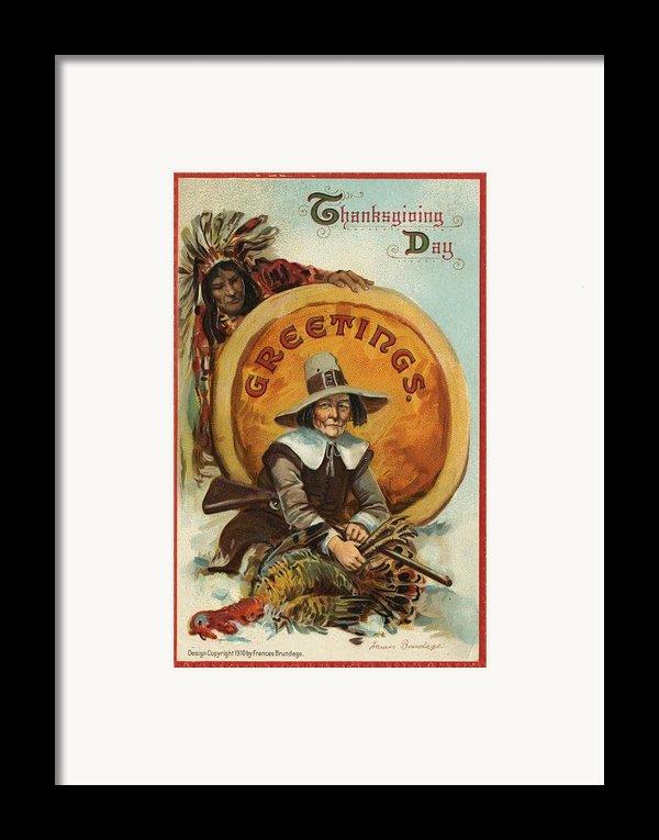 Postcard Of Pilgrim Plucking A Turkey Framed Print By American School