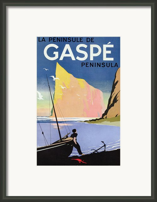 Poster Advertising The Gaspe Peninsula Quebec Canada Framed Print By Canadian School