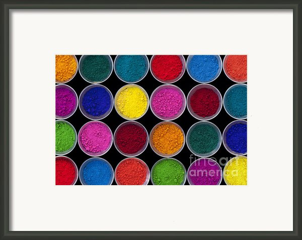 Pots Of Coloured Powder Pattern Framed Print By Tim Gainey