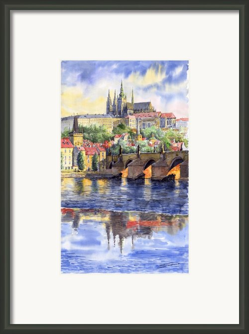 Prague Castle With The Vltava River 1 Framed Print By Yuriy  Shevchuk