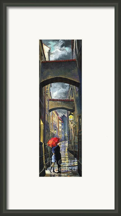 Prague Old Street Love Story Framed Print By Yuriy  Shevchuk