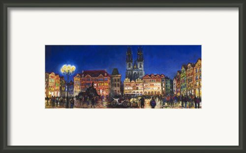 Prague Old Town Square Night Light Framed Print By Yuriy  Shevchuk