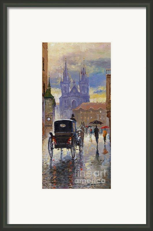 Prague Old Town Square Old Cab Framed Print By Yuriy  Shevchuk