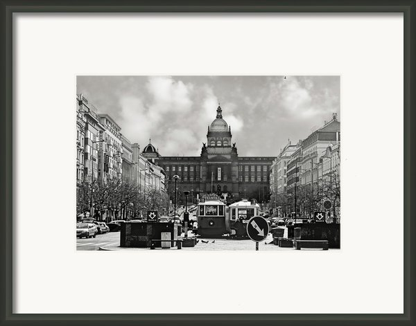 Prague Wenceslas Square And National Museum Framed Print By Christine Till