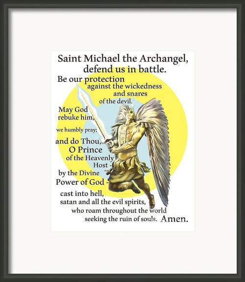 Prayer To St. Michael The Archangel Framed Print By Dave Luebbert