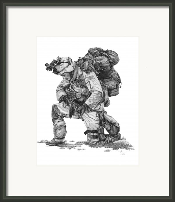 Praying  Soldier  Framed Print By Murphy Elliott