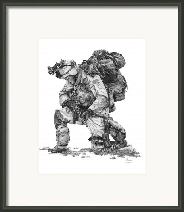 Praying  Soldier  Framed Print By Murphy Elliott
