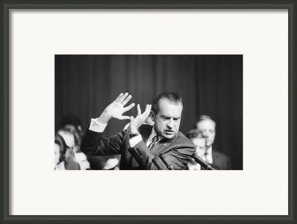 President Richard Nixon Gesturing Framed Print By Everett