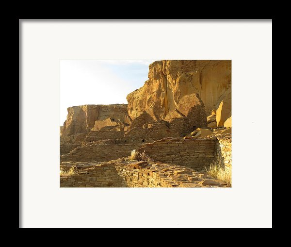 Pueblo Bonito And Cliff Framed Print By Feva  Fotos