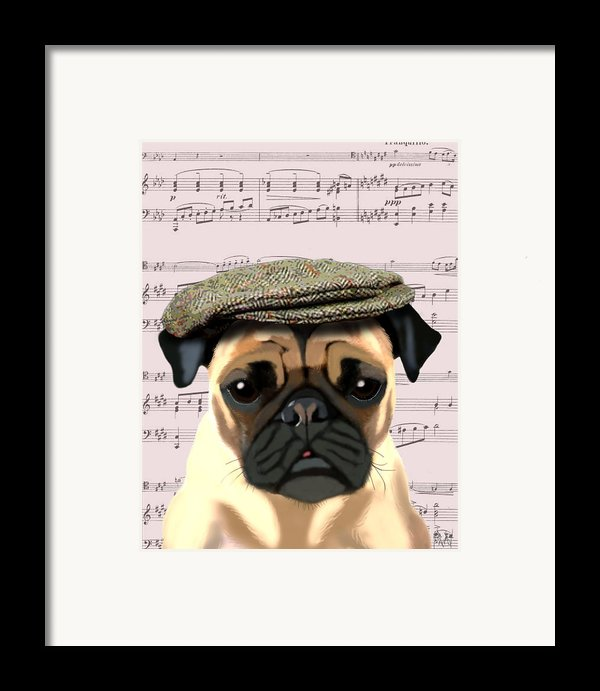 Pug In A Flat Cap Framed Print By Kelly Mclaughlan