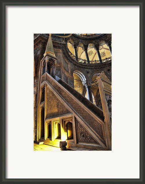 Pulpit In The Aya Sofia Museum In Istanbul  Framed Print By David Smith