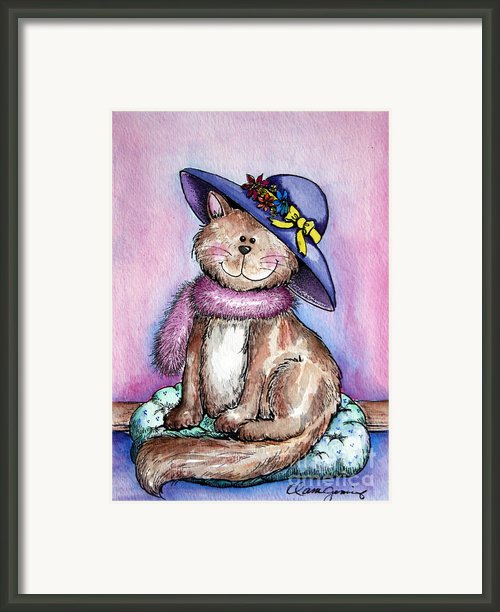 Purple Hat Cat Framed Print By Danise Abbott